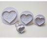 Fondant plunger cutter HEARTS (pattern) - set of 4