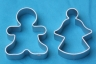 GINGERBREAD MAN  & ANGEL cookie cutter set of 2- metal